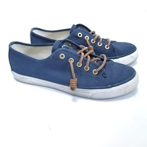 Sperry Seacoast Canvas Sneakers Navy Sz 7.5